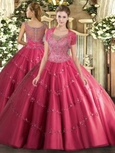 High End Hot Pink Scoop Neckline Beading and Appliques 15th Birthday Dress Sleeveless Clasp Handle