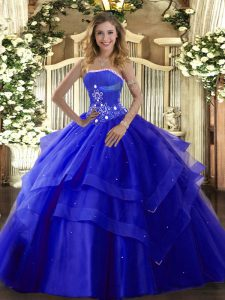 Royal Blue Ball Gowns Tulle Strapless Sleeveless Beading and Ruffled Layers Floor Length Lace Up Vestidos de Quinceanera