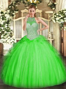 Hot Selling Ball Gowns Beading and Ruffles Ball Gown Prom Dress Lace Up Tulle Sleeveless Floor Length