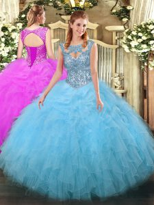 High End Sleeveless Lace Up Floor Length Beading and Ruffles Vestidos de Quinceanera