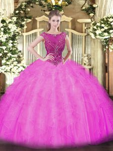 Comfortable Sleeveless Tulle Zipper Vestidos de Quinceanera in Lilac with Beading and Ruffles