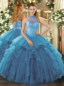 Classical Teal Halter Top Lace Up Beading and Ruffles Quinceanera Gown Sleeveless