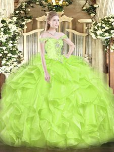Off The Shoulder Sleeveless 15th Birthday Dress Floor Length Beading and Ruffles Yellow Green Organza