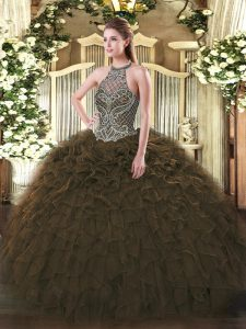 Dramatic Floor Length Olive Green Quinceanera Dress Halter Top Sleeveless Lace Up