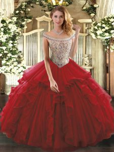 Wine Red Sleeveless Tulle Lace Up Quinceanera Gowns for Sweet 16 and Quinceanera