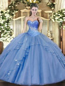 Glamorous Tulle Sleeveless Floor Length 15 Quinceanera Dress and Beading and Ruffles