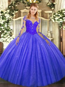 Modern Blue Long Sleeves Tulle Lace Up Quinceanera Dresses for Military Ball and Sweet 16 and Quinceanera