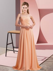 Customized Sweep Train A-line Prom Gown Orange Spaghetti Straps Chiffon Sleeveless Criss Cross