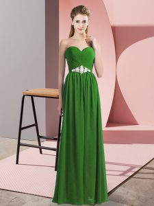 Fantastic Sweetheart Sleeveless Prom Gown Floor Length Beading Green Chiffon