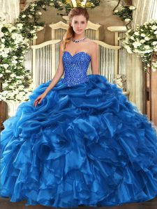 Fantastic Sweetheart Sleeveless Organza Sweet 16 Dresses Beading and Ruffles and Pick Ups Lace Up