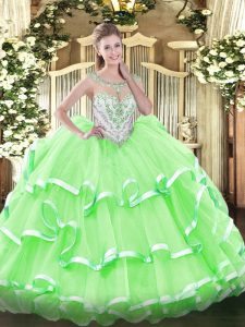 Simple Quince Ball Gowns Military Ball and Sweet 16 and Quinceanera with Beading and Ruffled Layers Scoop Sleeveless Zipper