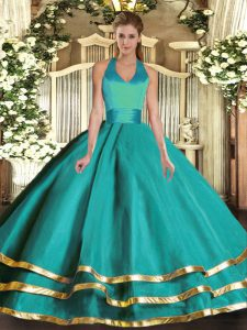 Turquoise Halter Top Neckline Ruffled Layers Sweet 16 Quinceanera Dress Sleeveless Lace Up