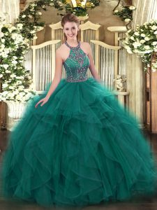 Dynamic Floor Length Lace Up Sweet 16 Dresses Teal for Military Ball and Sweet 16 and Quinceanera with Beading and Ruffles