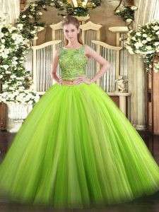 Green Lace Up Sweet 16 Dresses Beading Sleeveless Floor Length