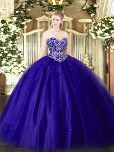 Fabulous Blue Sweetheart Lace Up Beading Quinceanera Dress Sleeveless