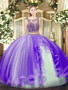 Clearance Lavender Tulle Lace Up Quinceanera Gowns Sleeveless Floor Length Beading and Ruffles