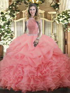 High Class Organza Sleeveless Floor Length Quinceanera Gown and Beading and Ruffles and Pick Ups