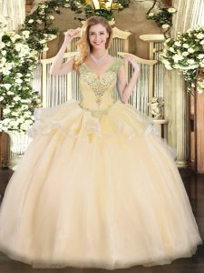 Champagne V-neck Neckline Beading Quinceanera Gowns Sleeveless Lace Up