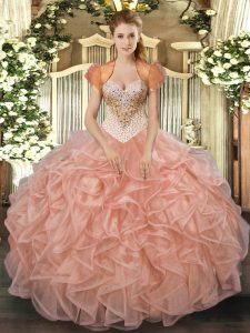 Clearance Organza Sleeveless Floor Length Vestidos de Quinceanera and Beading and Ruffles