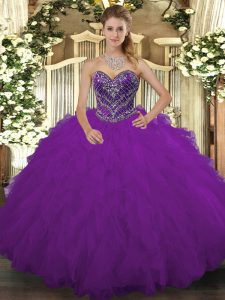 Fashionable Ball Gowns Quince Ball Gowns Purple Sweetheart Tulle Sleeveless Floor Length Lace Up