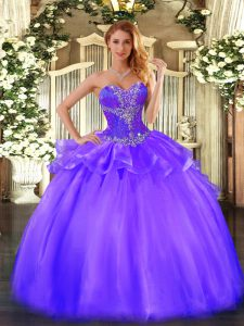 Sophisticated Purple Ball Gowns Sweetheart Sleeveless Tulle Floor Length Lace Up Beading Quinceanera Dresses