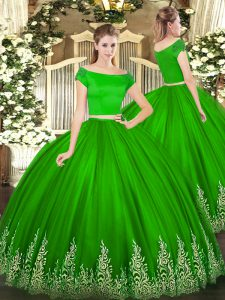 Green Two Pieces Off The Shoulder Short Sleeves Tulle Floor Length Zipper Appliques 15 Quinceanera Dress
