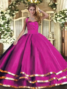 Sexy Fuchsia Lace Up Halter Top Ruffled Layers Quince Ball Gowns Tulle Sleeveless