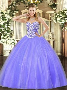 Stunning Tulle Sleeveless Floor Length Sweet 16 Dress and Beading