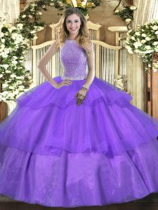 Eye-catching High-neck Sleeveless Tulle Quinceanera Dresses Beading and Ruffled Layers Lace Up