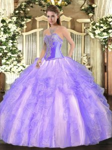 Sleeveless Tulle Floor Length Lace Up 15 Quinceanera Dress in Lavender with Beading and Ruffles