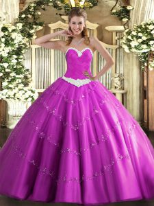Fuchsia Lace Up Quince Ball Gowns Appliques Sleeveless Floor Length