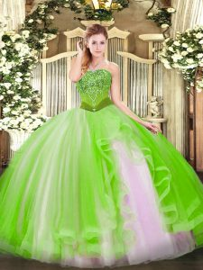 Lace Up Strapless Beading and Ruffles Sweet 16 Dresses Tulle Sleeveless