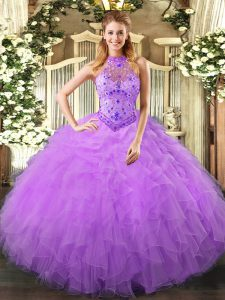 Edgy Sleeveless Organza Floor Length Lace Up Ball Gown Prom Dress in Lavender with Beading and Ruffles
