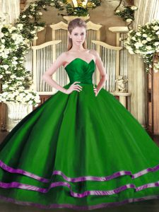 Custom Designed Green Ball Gowns Tulle Sweetheart Sleeveless Ruffled Layers Floor Length Zipper 15 Quinceanera Dress