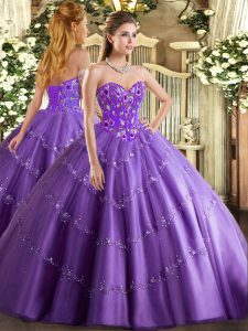Lavender Tulle Lace Up Sweetheart Sleeveless Floor Length Quinceanera Gown Appliques and Embroidery