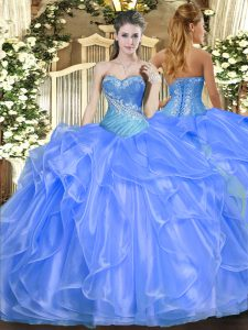 Glamorous Baby Blue Ball Gowns Organza Sweetheart Sleeveless Beading and Ruffles Floor Length Lace Up Quince Ball Gowns