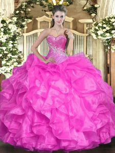 Organza Sweetheart Sleeveless Lace Up Beading and Ruffles Quinceanera Gown in Fuchsia