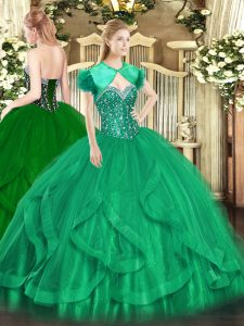 Floor Length Turquoise Quinceanera Gown Tulle Sleeveless Beading and Ruffles