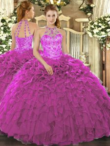 Ball Gowns Sweet 16 Dresses Fuchsia Halter Top Organza Sleeveless Floor Length Lace Up