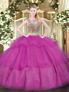Pretty Fuchsia Sleeveless Floor Length Beading and Ruffled Layers Lace Up Ball Gown Prom Dress