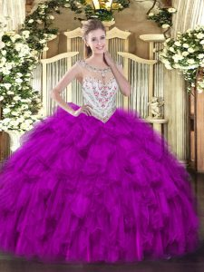 Affordable Fuchsia Zipper 15th Birthday Dress Beading and Ruffles Sleeveless Floor Length