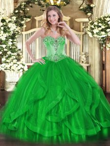 Sweet Floor Length Lace Up Vestidos de Quinceanera Green for Sweet 16 and Quinceanera with Beading and Ruffles