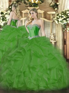Organza Sweetheart Sleeveless Lace Up Beading and Ruffles Ball Gown Prom Dress in Green