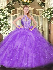 Beading Quince Ball Gowns Lavender Lace Up Sleeveless Floor Length