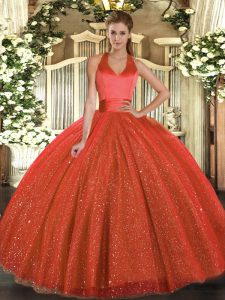 Classical Rust Red Ball Gowns Tulle Halter Top Sleeveless Sequins Floor Length Lace Up Quinceanera Dress