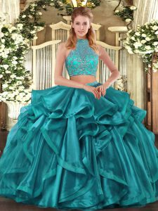 Custom Designed Turquoise Organza Criss Cross Halter Top Sleeveless Asymmetrical 15 Quinceanera Dress Beading and Ruffled Layers