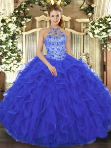 Luxury Royal Blue Sleeveless Floor Length Beading and Embroidery and Ruffles Lace Up 15 Quinceanera Dress