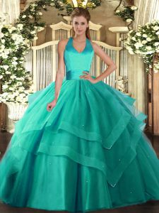Turquoise Ball Gowns Ruffled Layers Quince Ball Gowns Lace Up Tulle Sleeveless Floor Length