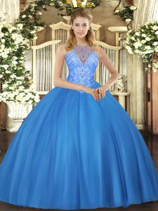 Fashion Floor Length Ball Gowns Sleeveless Baby Blue Quinceanera Gown Lace Up