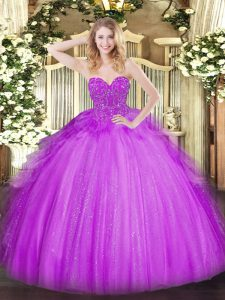 New Style Sleeveless Lace Lace Up Quince Ball Gowns